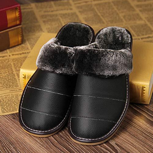 Nwarmsouth Nuevas Zapatillas Slip On Mules para Hombre,Calzado de algodón cálido al Aire Libre, Zapatillas Antideslizantes de Interior-Negro_39-40,Zapatos de Interior para Mujer Lavables para Hombres