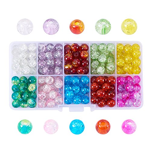 PH PandaHall 180pcs 10 Color Handcrafted Crackle Lampwork Glass 8mm Round Beads Bracelet Crystal Beads Bulk for Summer Beading Friendship Bracelet Mother's Day Jewelry Making Christmas Tree Ornament