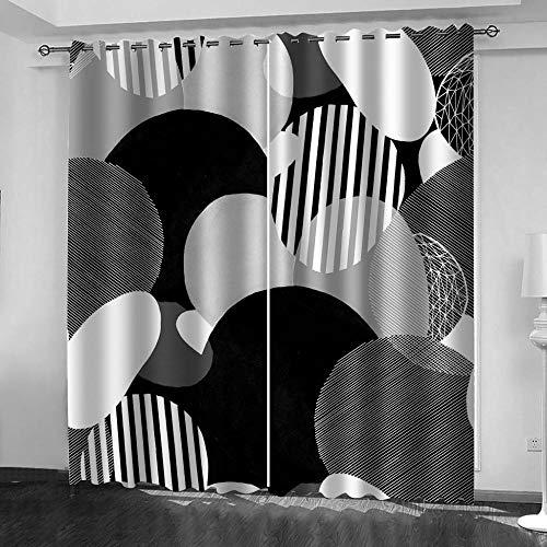 LJUKO Cortina Opaca En Cocina El Salon Dormitorios Habitación Infantil 3D Impresión Digital Ojales Cortinas Termica - -Círculo Geométrico Blanco Y Negro