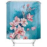 Duschvorhang 240x200 cm Antischimmel Wasserdicht Verdicken Duschvorhänge Pfirsichblüte 3D Digitaldruck mit 12 Weiß Duschvorhangringen für Dusche in Badezimmer
