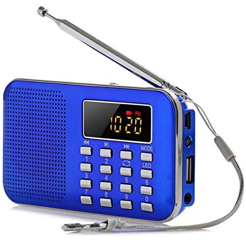 Mini Radio, Subwoofer LCD Digital Ultra-Thin FM Am USB TF LED Luz Multifunción Cuerpo Ultrafino Exquisito y Compacto, más Adecuado para áreas de montaña remotas (Color : Blue)