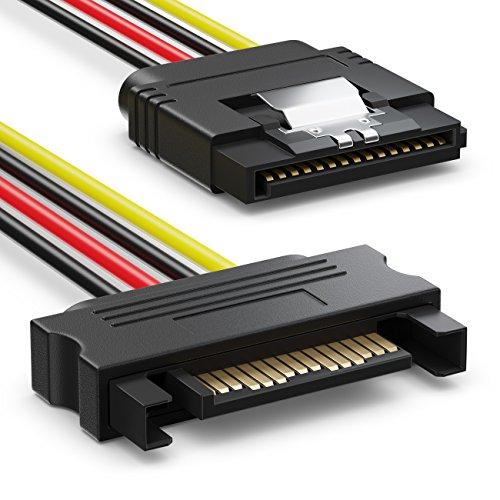 deleyCON SATA Kabel Set 4X SATA III Kabel mit Stecker Gerade + Strom Adapter Kabel - SSD HDD Festplatte