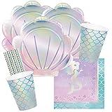 spielum Set di 40 pezzi – sirena scintillante – piatti conchiglie bicchieri tovaglioli cannucce per 8 bambini