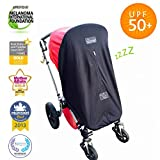Stroller Cover (0-6m) | Baby Sun Shade and Blackout Blind for Strollers | Stops 99% of The Sun's Rays (UPF50+) | Breathable and Universal fit | SnoozeShade Original - Limited Edition (Gray Trim)