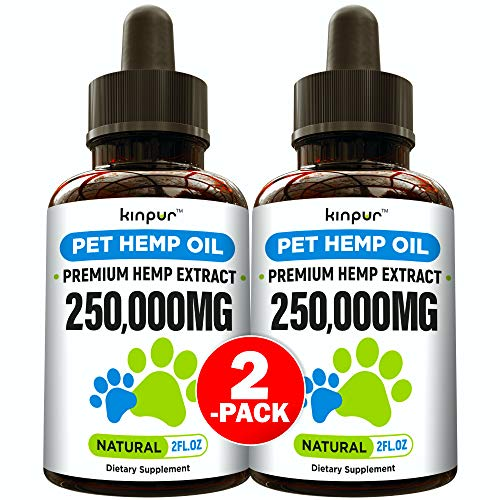 (2-Pack) Hemp Oil Dogs Cats - 250 000mg - Made in USA - Stress Relief, Separation Anxiety, Joint Pain, Seizures, Anti-Inflammatory - Omega 3, 6 & 9-4.OZ