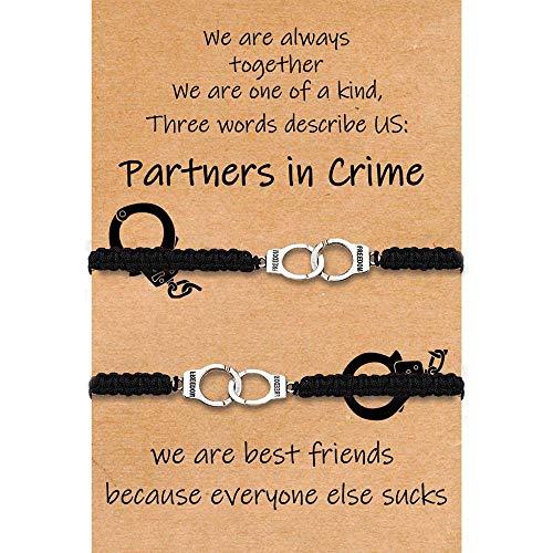 Best Friend Bracelets for Women Partners in Crime Bracelets Handcuff Matching Friendship Best Friend Birthday Gifts for Women Girls