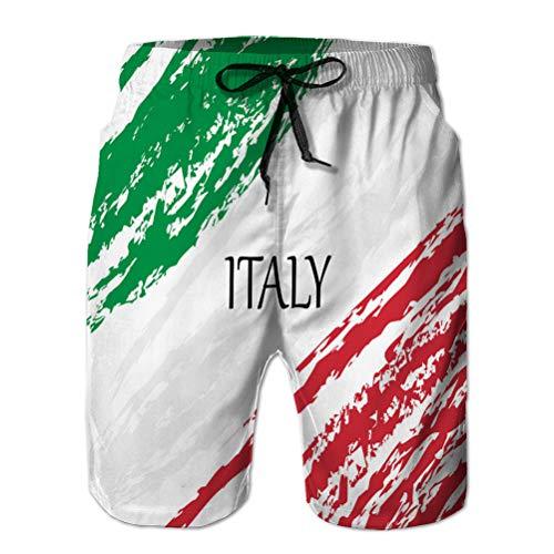 Xunulyn Herren Boardshorts Badehose Summer Beach Shorts italienische Flagge mit Pinselstrich bemalt