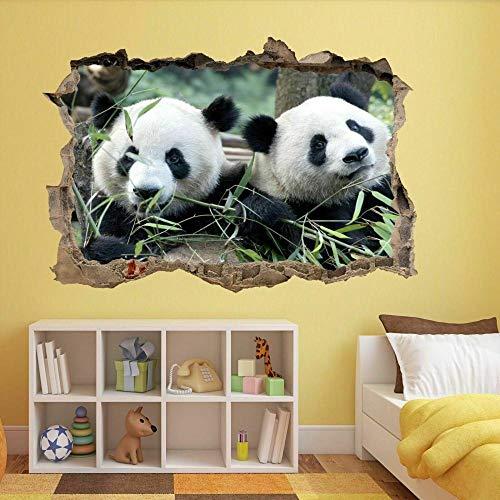 OMCCXO 3D Effect Wall Sticker Breakthrough Self-Adhesive Cute Panda Bear Animal 15.7x23.6inch(40x60cm) DIY for Living Room Decoration
