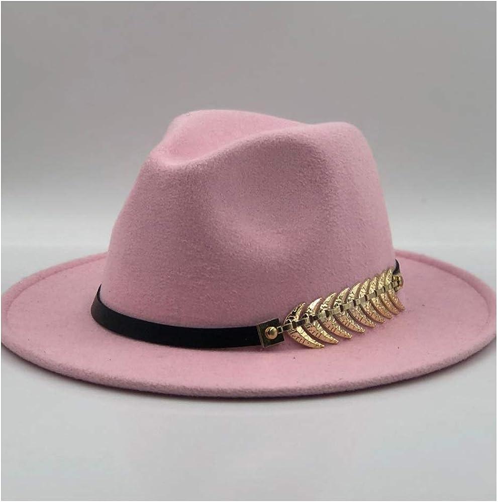 L.W.SUSL Fashion Men Women Fedora Feather Leather Belt Fedora Hat Jazz Hat Top Hats