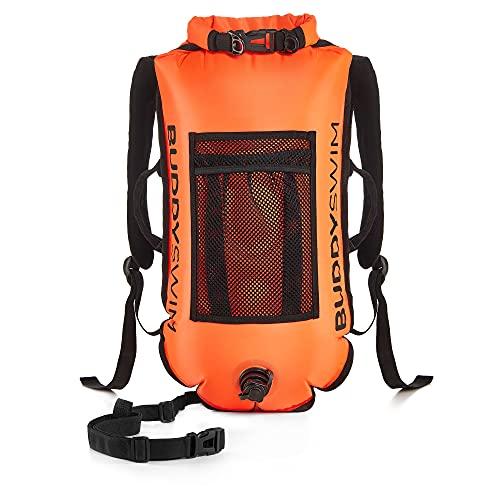 BUDDYSWIM Mochila Boya de Seguridad para Natación en Aguas Abiertas - DryBag con Compartimento Interior Estanco y Espaldera Desmontable - Ligera y Resistente Acabado de Nylon - Color Naranja