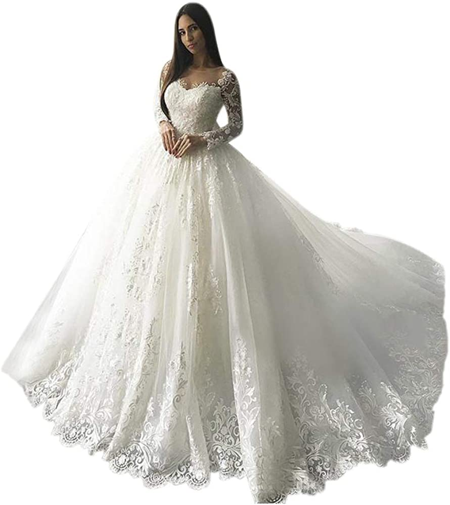 ElenaDressy Luxury Lace Appliques Long Sleeve Wedding Dress Ball Gown with Train