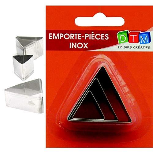 Graine Créative Lot de 3 minis emporte-pièces Triangles en INOX Alimentaire, coté 2,3,4 cm
