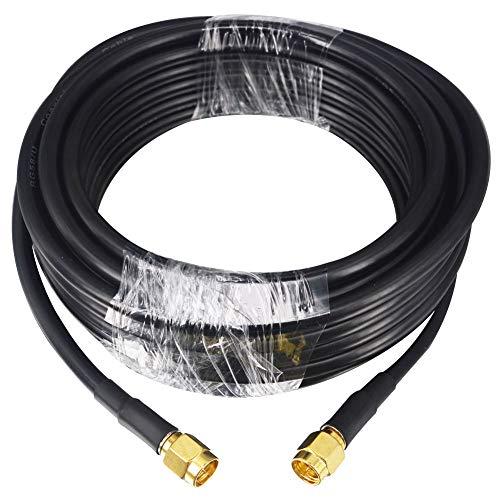 Cable de extensión coaxial de baja pérdida, 5 m, RG58 SMA macho de extensión SMA, conector de cable coaxial RF para 3G / 4G LTE SMA antena WiFi Router inalámbrico WLAN Cable de alimentación