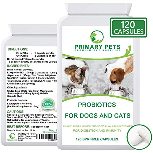Primary Pets Probiotics for Dogs. 120 Powder Capsules. 15billion CFU. Digestive Health Supplement for Dogs with Prebiotic