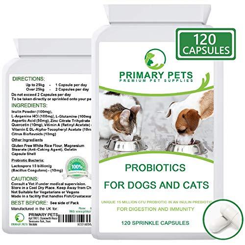 Primary Pets Premium Pet Supplies Probióticos para Perros. 120 Cápsulas en Polvo. 15mil Millones de UFC. Suplemento de Salud Digestiva para Perros. con prebiótico
