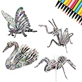 3D Coloring Puzzle Set DIY Arts Crafts Puzzle Kit Best Toy Gift for Kids Girls Boys Educational Painting Crafts Kit Birthday Gift Toy for Kids Children with 4 Insect Puzzles with 12 Pen Markers