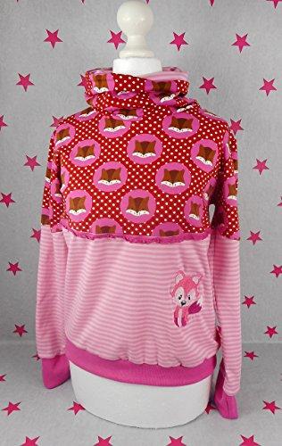 pinkeSterne ☆ Pullover Mädchen Pulli Hoodie Wunschgröße Kragenpulli Fuchs Füchse Pink Rosa