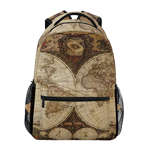 Rucksack mit Kompass, antiker nautischer Weltkarte, für Studenten, Schultasche, Reisen, Wandern, Camping, Laptop, Tagesrucksack