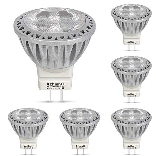 Azhien Led GU4 MR11 LED 12V Lampen Warmweiß 2700K, 3W, 250LM, LED Spot mit 35mm Durchmesser und 38mm Höhe, Mini Größe, ersetzt 10W, 20W, 28W, 35W, Halogenlampen, 30 Grad Abstrahlwinkel, 6er Pack