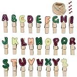 Hosaire 26Pcs Clips Photo en Bois Mini Pince a Linge Mignonne Forme de Lettres Anglaises vêtir Papier Photo Craft DIY Clip pour...