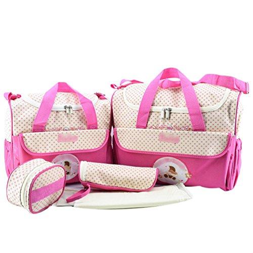Jitong Set de 5 Piezas Bolsos Cambiadores/Bordado Mamá Bolsa de Hombro/Pañales Cambio Bebé/Bolsa Termica para Biberones (Rosa, Talla única)