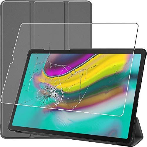 ebestStar - Cover Compatibile con Samsung Galaxy Tab S5e 10.5 T720 T725 Custodia Protezione Slim Smart Case Pelle PU Sottile Supporto, Grigio + Vetro Temperato [Tab: 245 x 160 x 5.5mm, 10.5  ]
