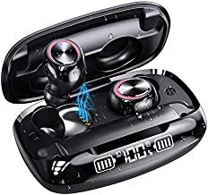 Bluetooth Wireless Earbuds with Wireless Charging LED Display Case IPX7 Waterproof Wireless Bluetooth Headphones GUSGU Deep Bass Sound 90H Cycle Playtime,Free Switch Single/Twin Mode for Sports