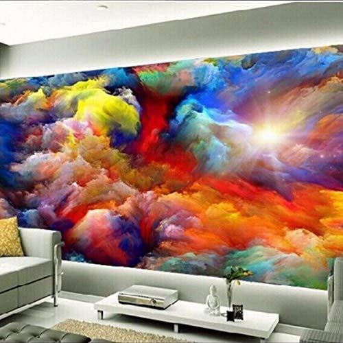 Fotobehang - Regenboog Wolken Landschap Niet-geweven muurschildering voor Premium Art Print Poster Picture Design Moderne Slaapkamer Woonkamer Woonkamer Woonkamer Woondecoratie 150x105 cm/59x41.33 inch - 3 Strips