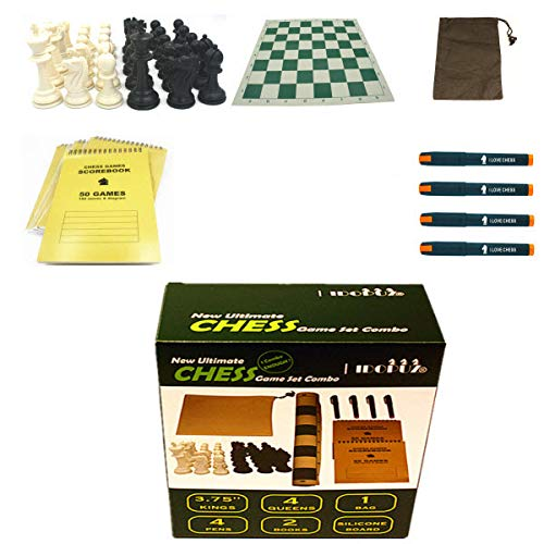 IDOPUZ️® Juego de ajedrez Staunton Tournament al Mejor Precio | Tablero Enrollable de 51cm Rey de 95mm | Juego de Mesa de 56cm Bolsa de ajedrez