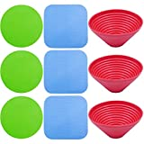 9 Pieces Rubber Jar Gripper Jar Grips Pads Bottle Lid Opener Kitchen Table Coasters, 3 Shapes