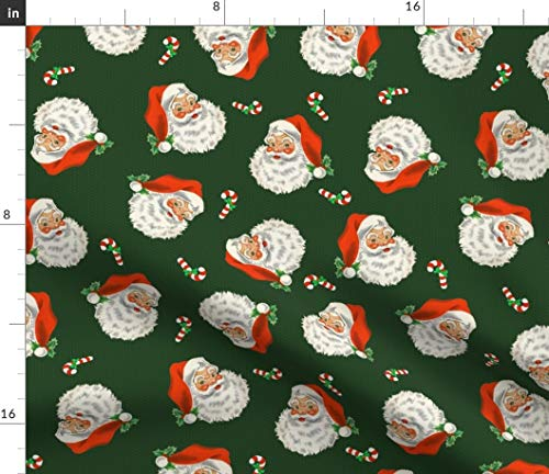 Spoonflower Fabric - Retro Santa Claus Christmas Winter Vintage Holiday Candy Holly Printed on Petal Signature Cotton Fabric by The Yard - Sewing Quilting Apparel Crafts Decor