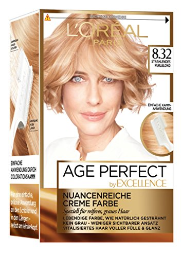 L'Oréal Paris Excellence Age Perfect Coloration, 8.32 strahlendes perlblond, 3er Pack (3 x 1 Stück)