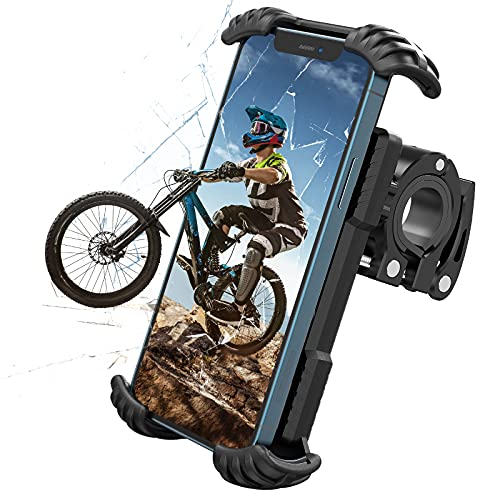 Nulaxy Bike Phone Holder, Bike Phone Mount One-handed Operation with 360°Rotation Motorcycle Phone Mount, Bike Accessories for IPhone 12 11 Pro S10 S9 and More 4.7' - 6.8' Devices