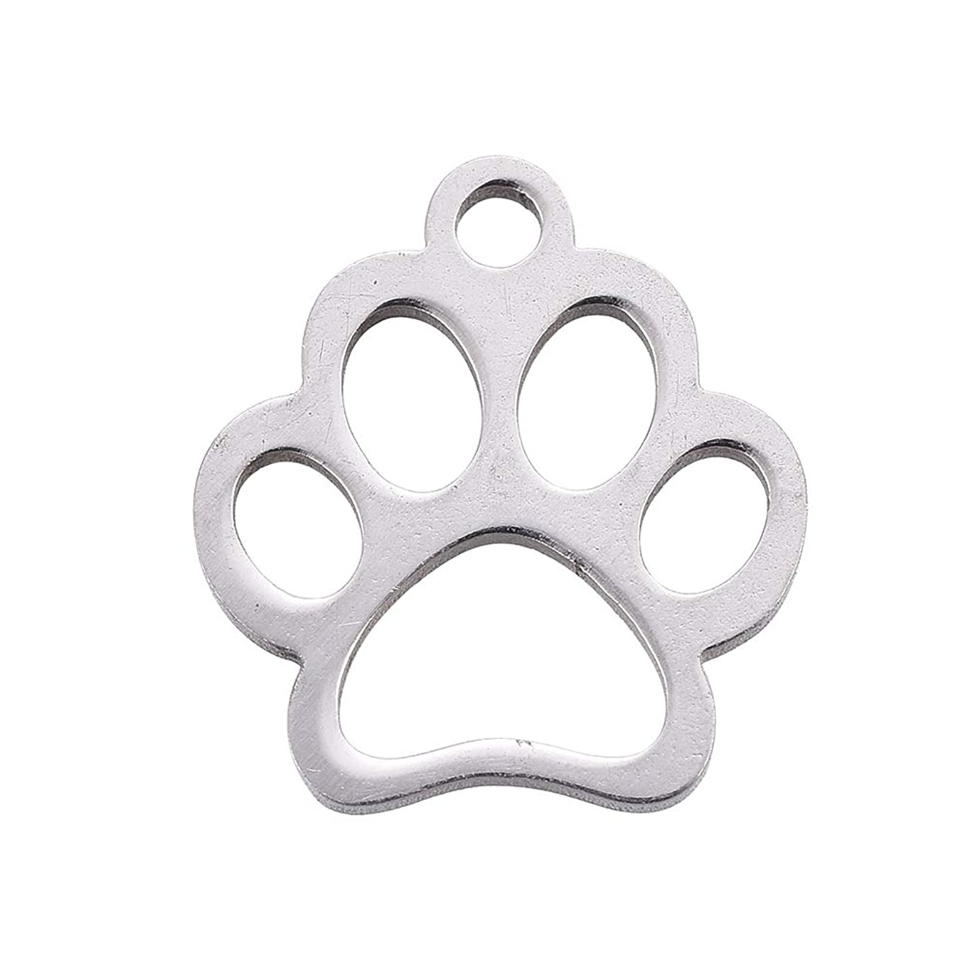 DanLingJewelry 304 Stainless Steel Dog Paw Print Charm Doggy Cat Animal Footprint Pendant for DIY Crafting Bracelet Necklace Jewelry Findings(Stainless Steel Color-20pcs,12.9 x 11.8 x 1mm,Hole: 1.5mm)