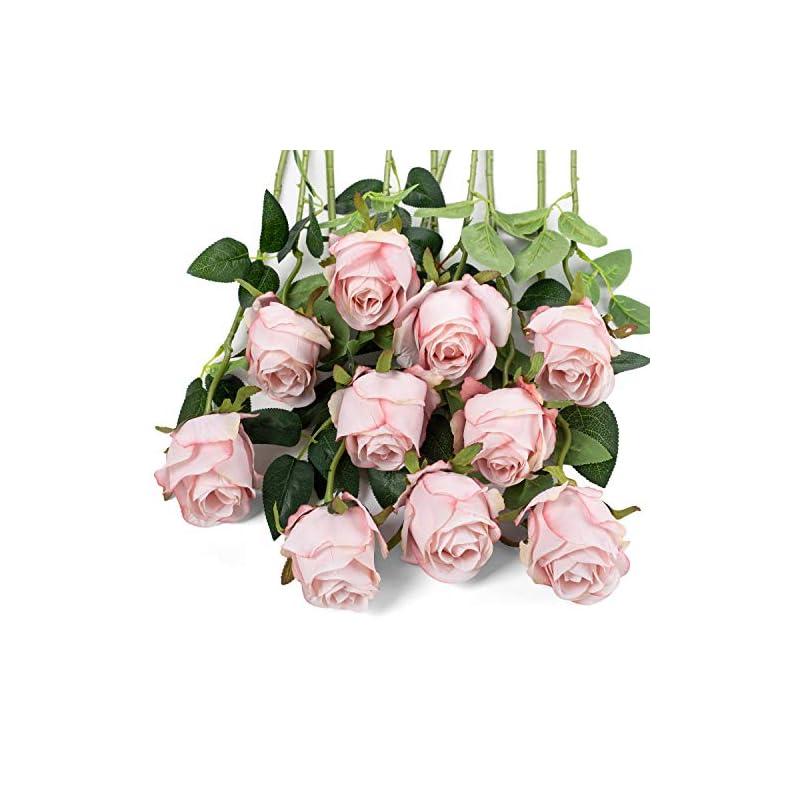 silk flower arrangements flojery 10pcs artificial rose flowers long stem fake silk roses for diy wedding bouquet table centerpiece home decor (light pink)