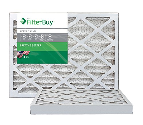 FilterBuy 16x20x2 MERV 8 Pleated AC Furnace Air Filter, (Pack of 2 Filters), 16x20x2 – Silver