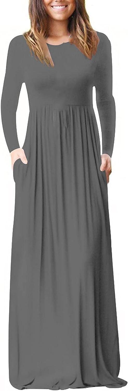 LOOKAA Women Fashion O-Neck Gradient Print Long Sleeve Pockets Spaghetti Maxi Dress Loose Plain Maxi Dresses Long Dress