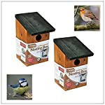 Garden Mile® 2x Traditional Wooden Garden Birdhouse Nesting Boxes With Green Hinged Roof For Easy Cleaning Predator Proof To Accomodate Small Birds Sparrows, Tits Robin Nester