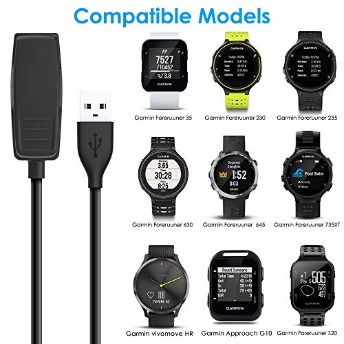 CAVN Charger Cable Compatible with Garmin Forerunner 235 35 230 630 645 Music, 735XT, Approach G10 S20, Vivomove HR, Data Sync Charger Clip Charging Cable Accessories