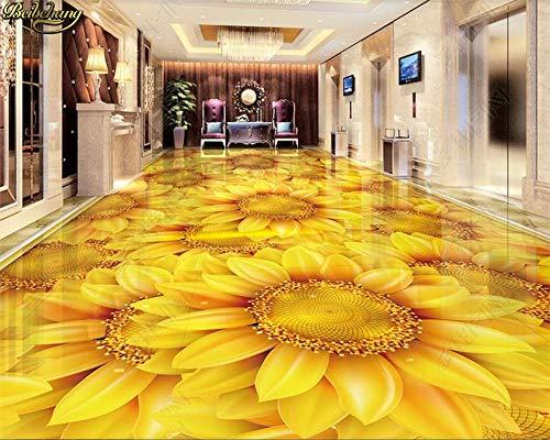Aangepaste fotobehang vloerverf zonnebloem bloem plant bloem 3D vloerbehang Home Decoration 300 cm x 210 cm.