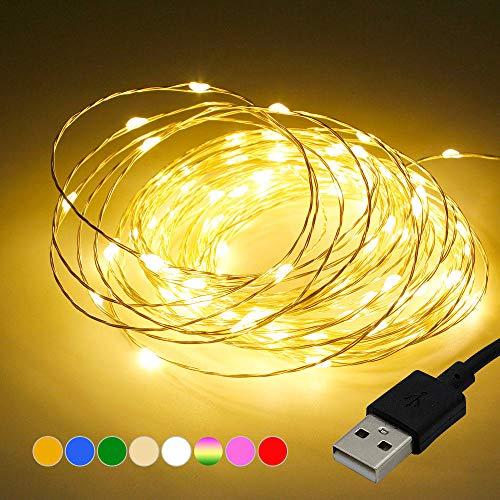 1 meter zwarte draad USB koperdraad lantaarn, decoratieve LED koperdraad lantaarn snaar thuis kerstboom hotel-warm wit_1 meter