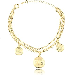 Pulseira com três correntes com pingente de globo e medalha folheado em ouro 18k