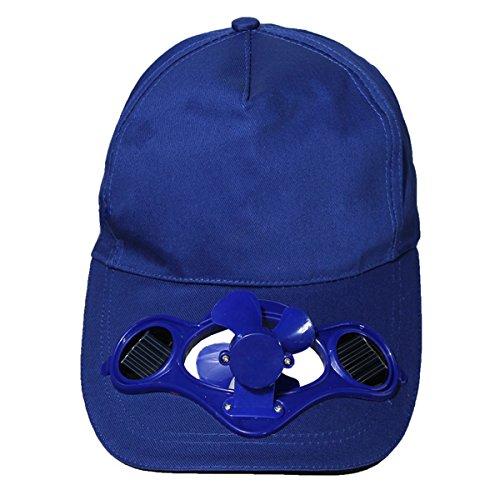 Dcolorete Exterieur Solaire Sun Power Chapeau de Refroidissement Cool Fan de Golf Baseball Sport - Bleu