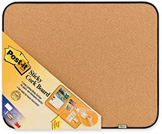 Post-it Sticky Cork Board with Command Fasteners 18 x 22-Inches, Gray and Black