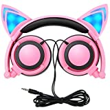 Cat Ear Kids Headphones,DICEKOO Flashing Glowing Cosplay Fancy Cat Ear Headphones Foldable Over-Ear Gaming Headsets Earphone with LED Flash Light for Girls Boys Phone Tablet (Pink)