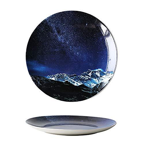 GZDD Vajillas de cerámica Estilo Universo Galaxy 2 Piezas,Platos de Cena de 20,5cm de Color para Aperitivos/Sushi/Postre,Apto para lavavajillas y microondas, star2