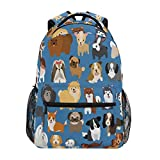 ZZKKO Cute Animal Dogs Boys Girls School Computer Backpacks Book Bag Travel Hiking Camping Daypack