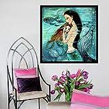 N / A Pintura sin Marco Pintura de Sirena Pescado sobre Lienzo Deseo ardiente decoración de la Sala Arte Mural sirenitaZGQ7426 50x50cm