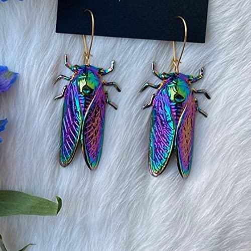 SONGK Pendientes Largos con Forma de cigarra de Insectos psicodélicos de Color arcoíris de la Suerte, Pendientes únicos de Lujo de Alambre Chapado en Oro metálico para Mujeres y niñas