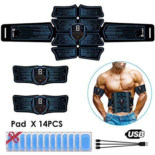 Action Elettrostimolatore per Addominali, EMS Elettrostimolatore Muscolare Professionale Cintura con LCD Display Dispositivo di Fitness Uomo Donna - 14PCS Gel Pad EMS